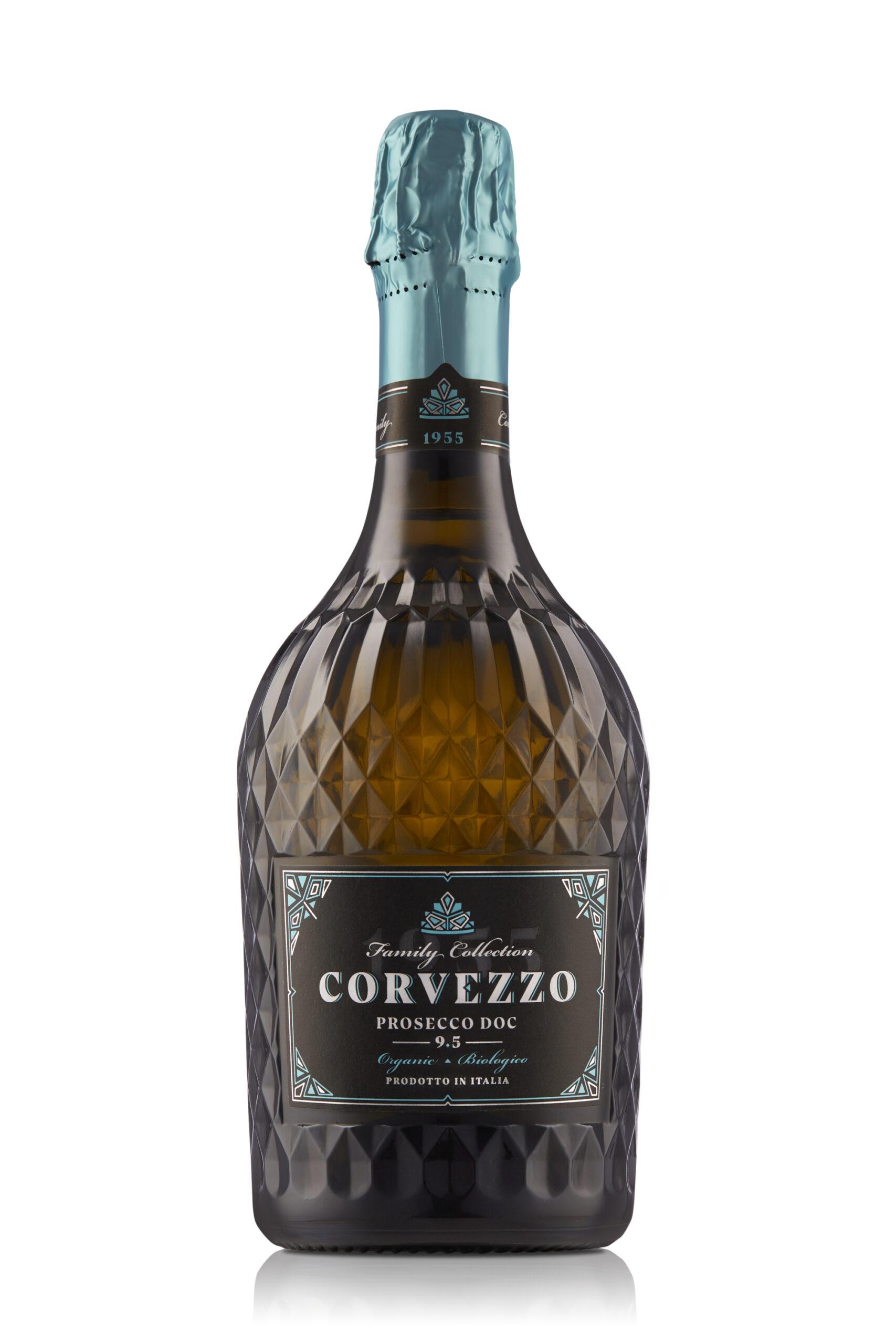 prosecco demi Sec in dunkler Kristallflasche der Familie Corvezzo